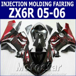 $enCountryForm.capitalKeyWord Canada - Injection molding fairings set for Kawasaki Ninja 636 ZX-6R 05 06 red flames in black high quality fairing kit ZX6R 2005 2006 GH64