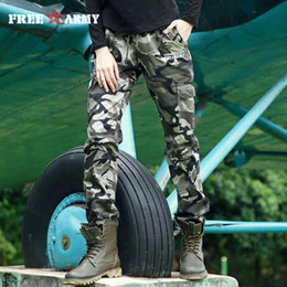 Woman Military Pants Canada - FREE ARMY Autumn Pants Women Ankle-Length Boot Cut Winter Military Camouflage Trousers Women's Pants Elastic Waist Gk-9628B