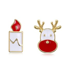 2018 beautiful earrings girls Christmas Candle Deer Earrings Yellow Gold Plated Rose Gold Beautiful Charm Girls Women Jewelry Free Shipping beautiful earrings girls on sale