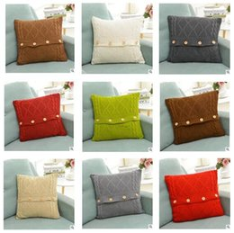 Button Cushion Cover Christmas Twist Patter Decoration Pillow Cover Knitted Decorative Cable Knitting Patterns Warm Pillow Case 17 Styles & Christmas Cushion Cover Pattern Australia | New Featured Christmas ... pillowsntoast.com