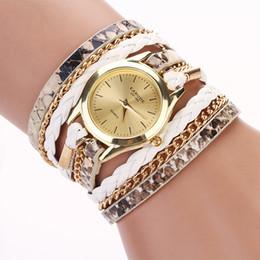 $enCountryForm.capitalKeyWord Canada - Leopard Print Long Chain Bracelet Watches Handmaid Weave PU Leather Strap Women's Watch Retro Fashion Bracelet Quartz Wristwatch