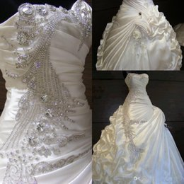 Wedding Dresses Handmade Flowers Real Images Canada - Real Image Crystal Bead Sequins High Quality Satin Ball Gown Wedding Dresses Handmade Flower Ruffle Vintage Bridal Gowns Vestidos 2015 New