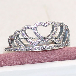 f9f2a7350 Fashion Jewelry Ring 925 Sterling Silver European Pandora Style Charm  Jewelry Hearts Tiara Ring with Clear Cz
