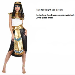 Robe De Cosplay D'egypte Pas Cher-Hommes Femme Halloween Costume Egypte Pharaon Roi Prince Reine Cosplay Uniformes Parti Mascarade Ball Déguisements Cosplay