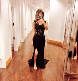 Barato Glamour Vestidos De Baile-2017 Sexy Glamour Bateau Prom Vestidos de noite Sheer See-Through Lace Beaded Sequins Top Black Slit Side Mermaid Chiffon Formal Party Dress