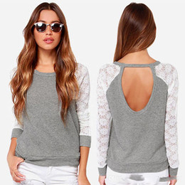 Lace Splice T Shirt Australia - Sexy Women Ladies Backless Splice Lace Sleeve Loose T-Shirt Blouse Cotton Tops WG1256