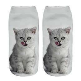Funny Christmas Socks UK - Wholesale free shipping 3D Printed Women men Socks Casual Cute Calcetines Harajuku Funny Cat Unisex Low Cut Ankle Christmas sock