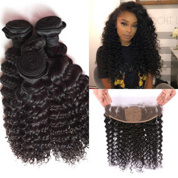 Discount 14 inches curly hair Peruvian Curly Silk Base Lace Frontal Closure and Bundles Deep Wave Virgin Human Hair Extensions With Frontal Closure 13