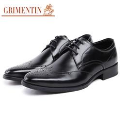 Genuine Leather Black Men Shoes NZ - GRIMENTIN Hot sale Italian fashion formal mens dress shoes pointed toes black man oxford shoes genuine leather business wedding men shoes