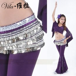 Gold Coin Belly Chain Canada - Hot selling Belly dance indian dance belt waist chain hip scarf with gold coin for women dance belt ,10 color for choice