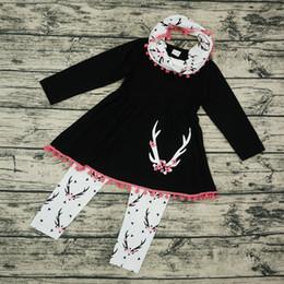 Wholesale blossom pants for sale – denim Baby Girls Clothing Sets Christmas Deer Long Sleeve Tassel Dress Tops Printed Pants Neckerchief Sets Cartoon Plum Blossom Outfits