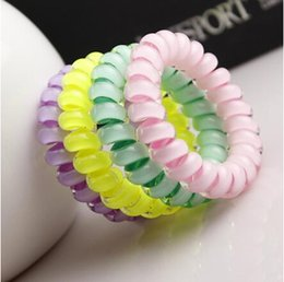 small elastic bands 2019 - 5%offhousaleScrunchies Telephone coil Colored Elastic Hair Bands For Girl Hair Scrunchy with a small gift Hair Accessori