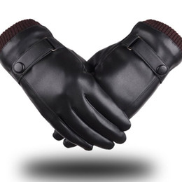 men touch screen gloves 2019 - New Men Touch Screen Gloves Winter Black Simulation Leather Washed Leather PU Plus Velvet Warm Driving Cycling Fingers G