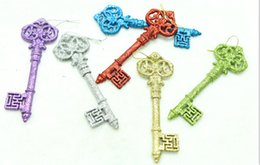 Media Keys Australia - free shipping,(5boxes in 20pcs), Christmas gold sliver glitter surface xmas key pendant ornament 14.5cm