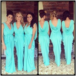 Robes tuRquoises online shopping - Glowing Teal Turquoise Bridesmaid Dresses V Neck Drapped Ruffles Chiffon Backless Junior Long Robe Demoiselle D honneur