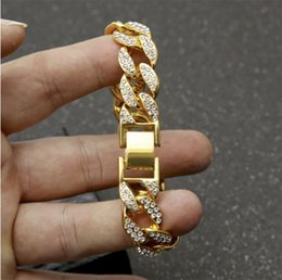 Mens Curbed Chain NZ - 15mm Mens Womens Chain Hip hop full Iced Out Miami Curb Cuban Gold Plated Bracelet with Paved Clear Rhinestones High Quality Whosales