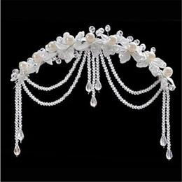 $enCountryForm.capitalKeyWord NZ - Wedding Bridal Hair Band Accessory Pearl Hairpiece Flower Hair headband Tassel Frontlet Crystals Beads with White Wedding Bridal Fashion