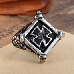 $enCountryForm.capitalKeyWord Canada - Mens 361L Stainless Steel Silver Vintage Biker Spider Web Square Black Iron Cross Ring Size 7-13