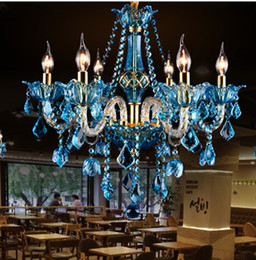 Wholesale Italy blue cafe light lustres dining room multi color Modern crystal Chandelier led Home Lighting KTV Restaurant Bar Lamps Lampadario