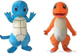 Mascotte De Dragon À Vendre Pas Cher-Poke Costume de mascotte Lovely Orange bleu Dragon Charmander Costume de mascotte Halloween Birthday Wedding Poke costume de bande dessinée Vente directe d'usine