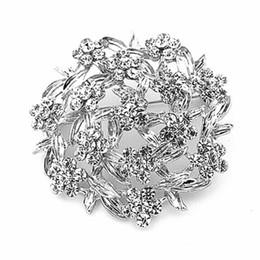 $enCountryForm.capitalKeyWord NZ - 2015 New List Fashion Jewelry Hot Selling Vintage Silver Tone Clear Rhinestone Flower Diamante Brooch Pins