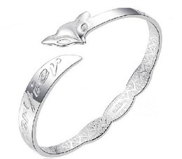 cheap platinum chains Canada - Foxriver Forever Fox Silver Bangles New Hot Cheap 30% 925 Sterling Silver Women White Gold Plating Wedding Bracelet Bangle Opening Jewelry