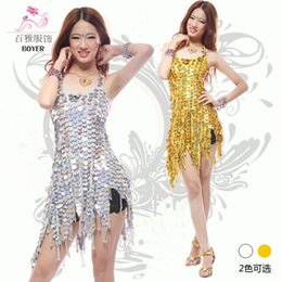 Robe Latine Pour Les Spectacles Pas Cher-2015 New Adult Sexy Discothèque Stage Dance Costumes Harnais Sequined Latin Show Jupe Elastic Party Dress A0477