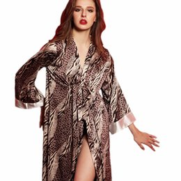 China Wholesale- New fashion sexy long bathrobe women sleepwear leopard robe lingerie for female pajamas silk nightwear ladies satin cheap lingerie robe silk satin suppliers