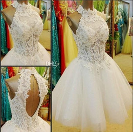 Wholesale Puffy Short White Homecoming Dresses Lace Corset Bodice Ball Gown Graduation Dress Grade Prom Party Gowns Open Back New