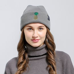 Knitted hat patterns for women online shopping - Fashion Hedging Cap Embroidery Pineapple Pattern Hip Hop Hats Keep Warm Knitting Beanie For Men And Women lza B