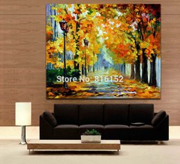 $enCountryForm.capitalKeyWord NZ - Palette Knife Oil Painting Fall Scene Stroll in Deep Forest Path Art Picture Printed on Canvas for Home Office Hotel Wall Decor