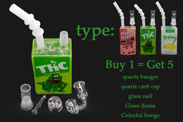 Bongs For Smoking Canada - beaker bong 14mm male thick glass water pipes oil rigs with quartz banger carb cap glass nail five-piece green white pink for smoking