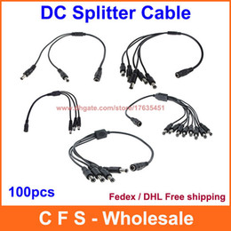 wire for cctv UK - DC Power Splitter Adaptor Cable 12V Female to 2   3   4   5   8 Male way cable wire for CCTV camera 100pcs Fedex   DHL Free Shipping