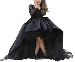 $enCountryForm.capitalKeyWord UK - Princess High Low 2018 Lace Girls Pageant Dresses Sleeve Girl Communion Dress Ball Gown Kids Formal Wear Flower Girls Dresses for Wedding