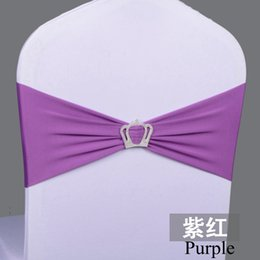 stretch sashes wholesale NZ - Purple Stretch Spandex Chair Bows Chair Bands With Buckle Chair Sash Buckles Wholesale Chair Sashes For Weddings
