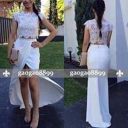Vintage Back Button Dress NZ - 2019 Charming Sheath Two Pieces Prom Dress White Lace Appliques Cap Sleeves Jewel Neck Button Back Cheap Formal Prom Dresses Evening Wear