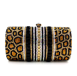 Parches Bling Baratos-Moda Leopard Bag Bling Full Crystal Embrague Patch Work Cosmetic Bag HK crystal Diamond Bag Joyero