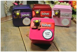 Boîte Cadeau Mariage Coréen Pas Cher-Hot Korean Style Cute Bears Love Tin Candy Favors Holders Colorful Wedding Party Candy Boxes Gift Candies Boxes