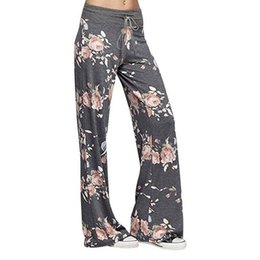Wide Legged Yoga Pants Canada - New Womens Wide Leg High Waist Yoga Palazzo Pants Casual Printed Drawstring Trousers