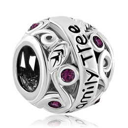 Chinese  Wholesale and Retail Amethyst Purple Birthstone Flower Filigree Family Tree Of Life Love Charm Bead Fit Pandora Charm Bracelet manufacturers