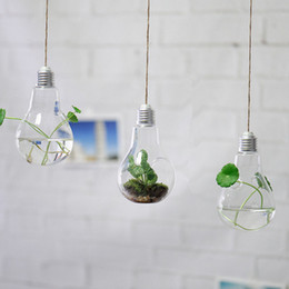 $enCountryForm.capitalKeyWord UK - 3 Style Transparent Glass Hanging Bulb Vase for Wedding   8*14cm Flower Plant Pot Planter Home Decor Creative Gift for Decoration, Rope FREE
