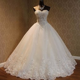 $enCountryForm.capitalKeyWord Canada - Sparkly Luxury Ball Gown Wedding Dress Sweetheart Sleeveless Beaded Pearls Crystals Lace Appliques Sequined Tulle Bridal Gowns Lace-up Back