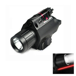 Outdoor Hunting 200 Lumens Led Tactical Flashlight Rifle Gun Light With Red Laser and 20mm Picatinny Rail Mount. on Sale