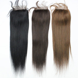 Barato Laço Preto Barato-7A Cor # 1b Black Brazilian Straight Cabelo para cabelo Top Encerramento Encerramento 3 parte 1B 4X4 Peruvian Virgin Top Lace Closures Hair Cheap Human Hair