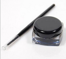 gel eye shadow UK - High Quality New Cosmetic Waterproof Eye Liner pencil make up black liquid Eyeliner Shadow Gel Makeup + Brush Black