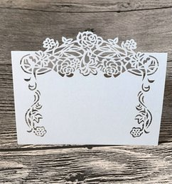 White Rose Card Wedding NZ - Flower Laser Cut Place Card Rose Vine Name Place Cards Table Mark Wedding Party Decoration Paper Shimmer Cards White