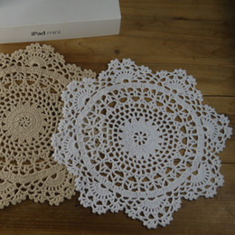 hand crochet table cloth NZ - Lot of 12 pcs ~ Diameter: 25cm Round doilies, hand crocheted table cloth, vintage style coasters round lace doilies for mom ~ NEW design