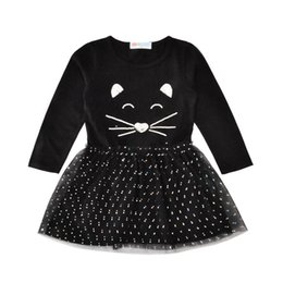 Wholesale Baby Cat Face Long Sleevees Dresses Girls Autumn Winter Black Printed Cartoon Bubble Skirts Infant Dot Tulle Dress