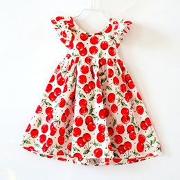 Ropa De Niño Para El Verano Baratos-Shabby Chic Cherry Cherry Backless Summer Girls Vestido Cherry Printed Woven Baby Dress Flutter manga Toddler Ropa