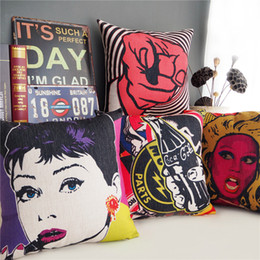 Car Sofa Couch Canada - American POP Art Cushion Cover Audrey Hepburn Retro Rock Style Cushion Covers Decorative Linen Cotton Pillow Case For Car Sofa Couch